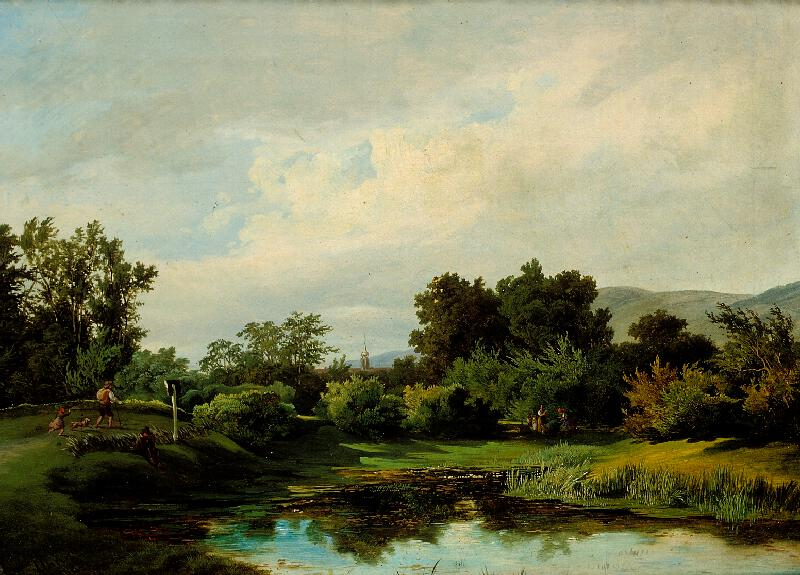 Anton Altmann ml. - Krajina u rybníka (Okraj lesa v podvečer)