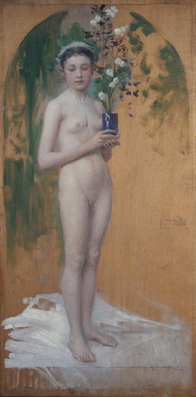 Eduard Veith - Dívčí akt s květinou