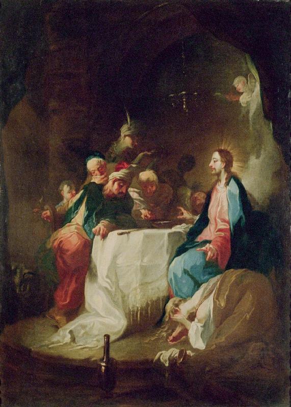 Franz Anton Maulbertsch - Maří Magdalena maže mastmi nohy Kristovy při hostině u Šimona - farizeje