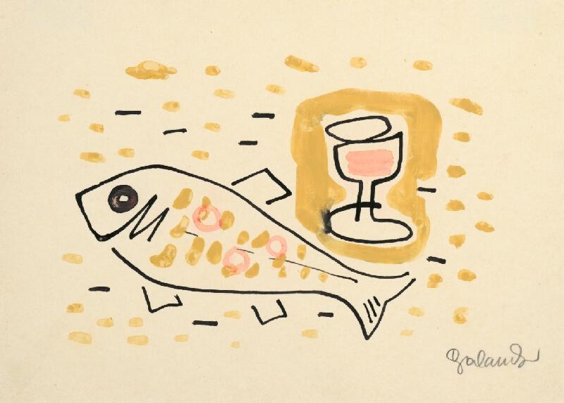 Mikuláš Galanda - Zátišie s rybou