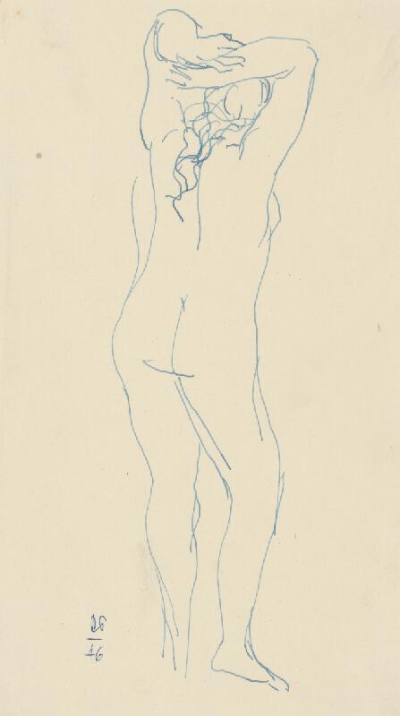 Rudolf Pribiš - Ženský akt zozadu so zdvihnutými rukami