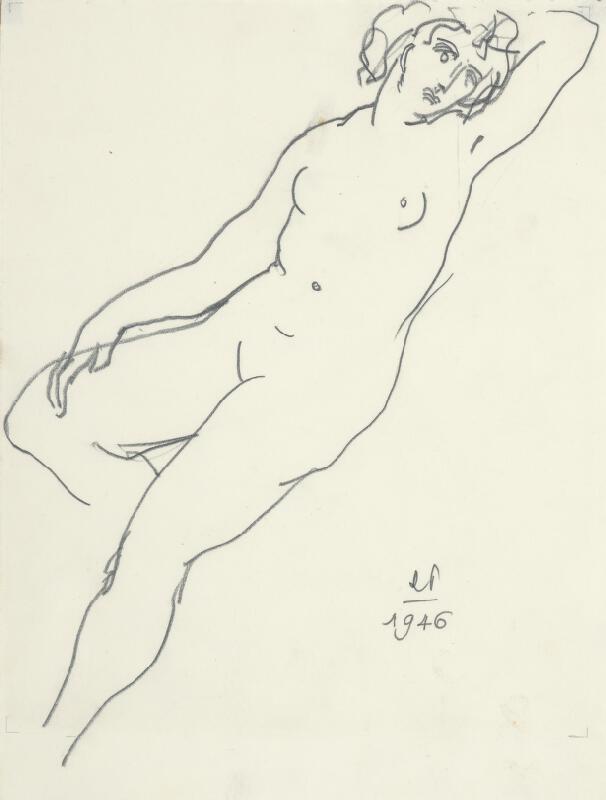 Rudolf Pribiš - Ženský akt so založenou ľavou rukou