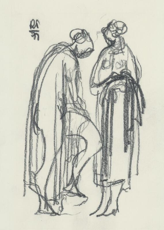 Rudolf Pribiš - Štúdia dvoch žien s drapériou I.