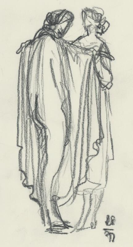 Rudolf Pribiš - Štúdia dvoch žien s drapériou II.