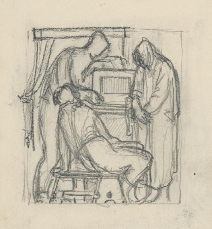 Rudolf Pribiš - Náčrt k reliéfnej výzdobe bronzových dverí na Slavíne