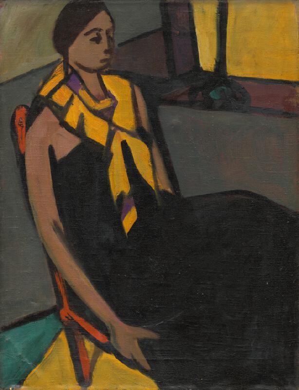 Eugen Nevan - Žena so žltou šatkou