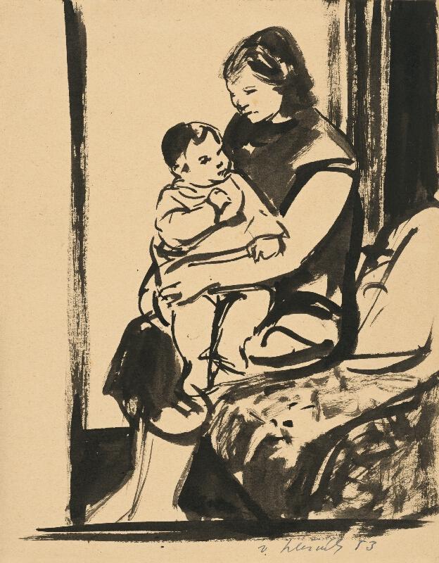 Vincent Hložník - Sediaca žena s deckom