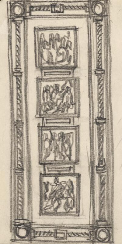 Rudolf Pribiš - Štúdia k dverám na Slavíne II.