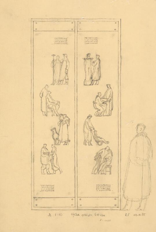Rudolf Pribiš - Náčrt vnútornej strany dverí na Slavíne