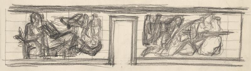 Rudolf Pribiš - Náčrt k reliéfnej výzdobe partizánskej mohyly