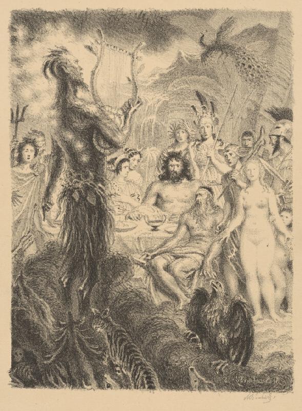 Max Švabinský - Satyr v zhromaždení bohov