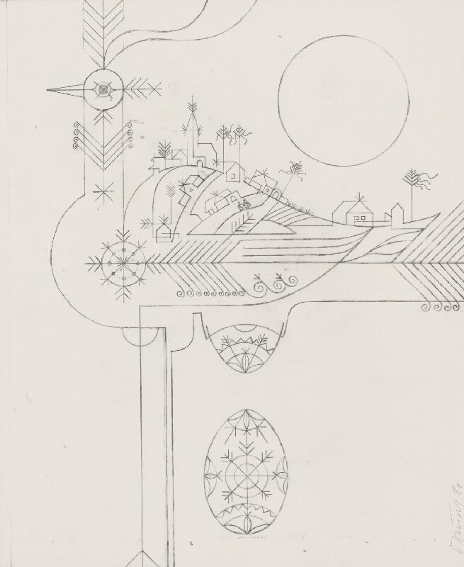 Oto Opršal - Kresba k obrazu Jarná krajina 1980