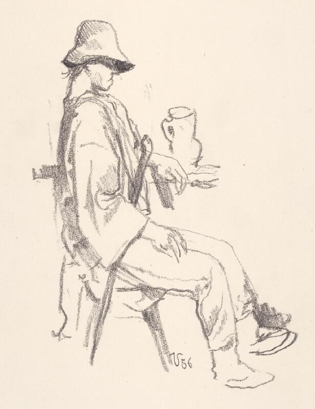 Jaroslav Vodrážka - Sediaci muž s krčahom
