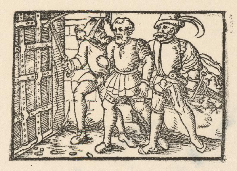 Nemecký grafik z 1. polovice 16. storočia - Dvaja rytieri vedú zajatého šľachtica