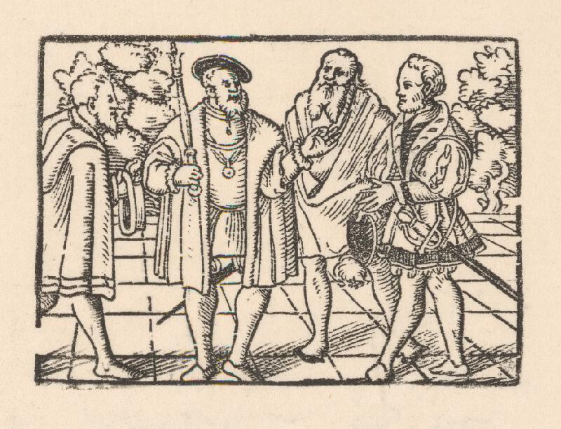 Nemecký grafik z 2. polovice 16. storočia - Rozhovor cisára s tromi šľachticmi