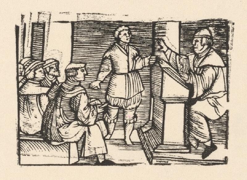 Nemecký grafik z polovice 16. storočia - Enšpígl vyrušuje v škole