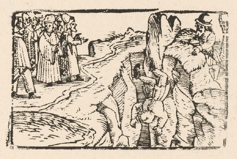 Nemecký grafik z 2. polovice 16. storočia - Ezop pozerá na popravu