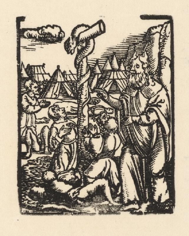 Nemecký grafik z 1. polovice 16. storočia - Mojžiš a had