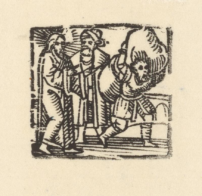 Nemecký grafik z 1. polovice 16. storočia - Kristus, obchodník a nosič ťažkého bremena