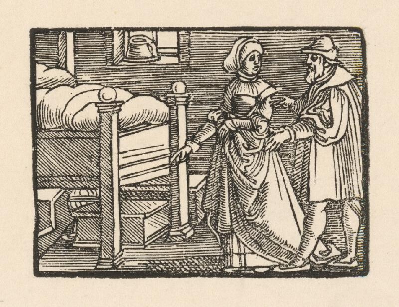 Nemecký grafik z polovice 16. storočia - Žena ukazuje priateľovi truhličku s kráľovskými klenotami