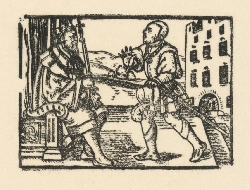 Nemecký grafik z 2. polovice 16. storočia - Rytier prináša správu cisárovi