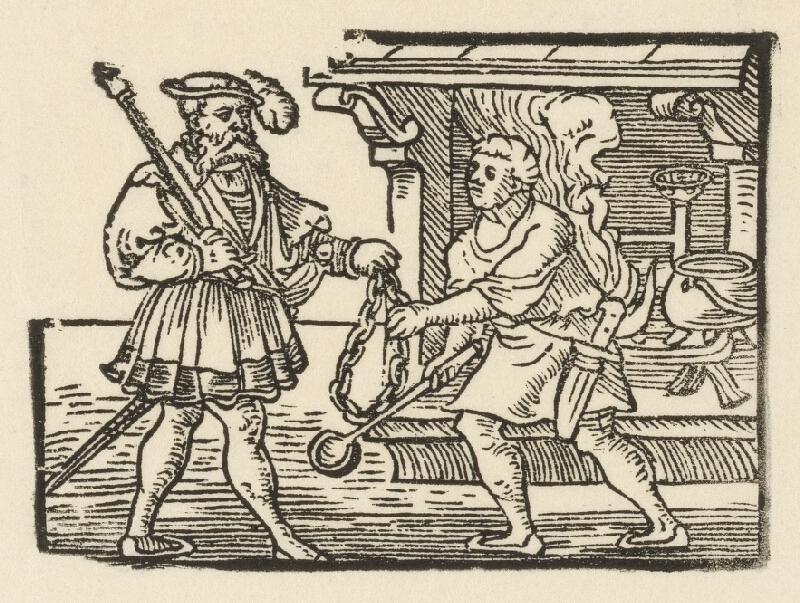 Nemecký grafik z polovice 16. storočia - Brigitina reťaz v rukách kuchára