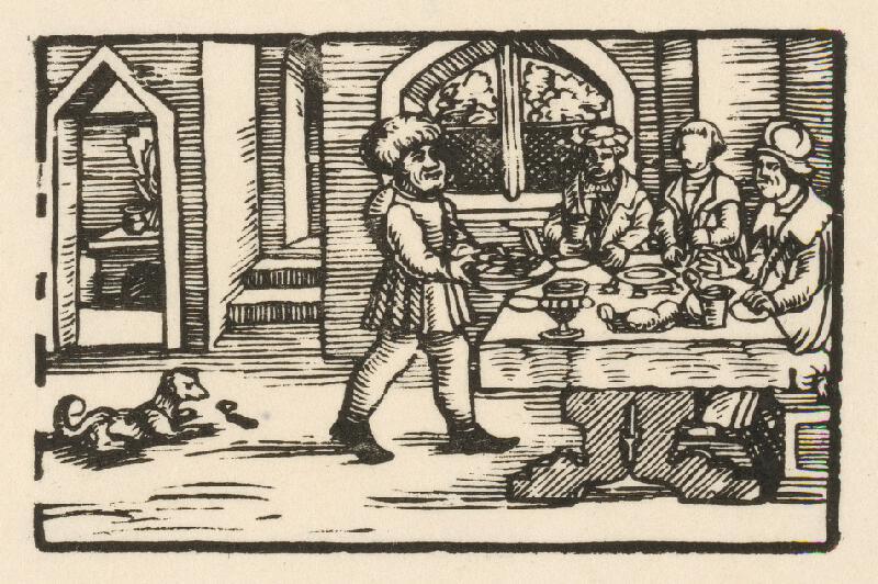 Nemecký grafik z 2. polovice 16. storočia - Ezop prináša trom stolovníkom misu jedla