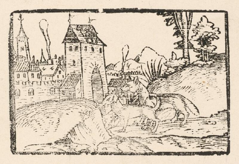 Nemecký grafik z 2. polovice 16. storočia - Líška a pes pred mestskou bránou