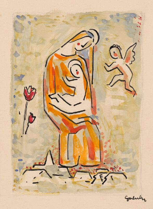 Mikuláš Galanda - Madona s anjelikom a tulipánom
