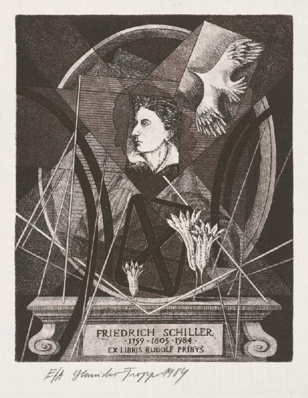 Stanislav Tropp - Ex libris Rudolf Príbiš, Friedrich Schiller