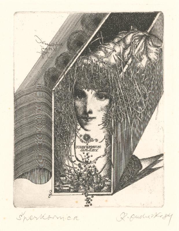 Karol Ondreička - Ex libris John Maeve Hawley