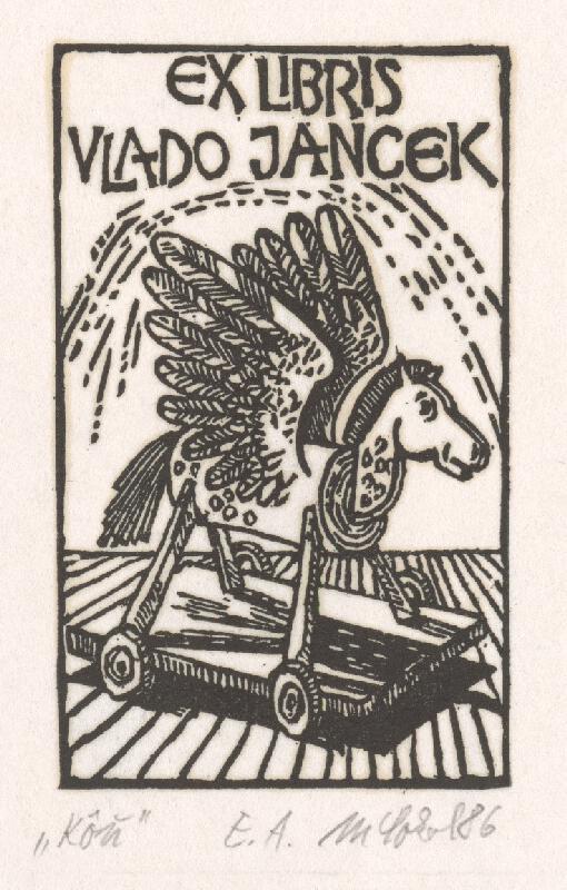 Milan Sokol - Ex libris Vlado Jancek - Kôň