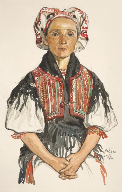 Jaroslav Vodrážka - Heľpa - krojová štúdia ženy