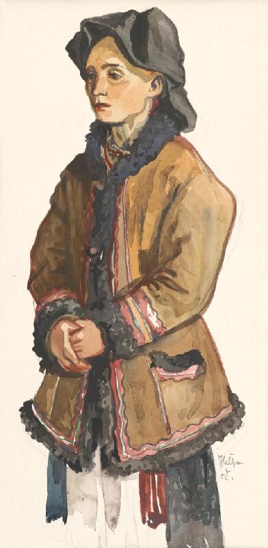 Jaroslav Vodrážka - Heľpa - Žena v kožuchu