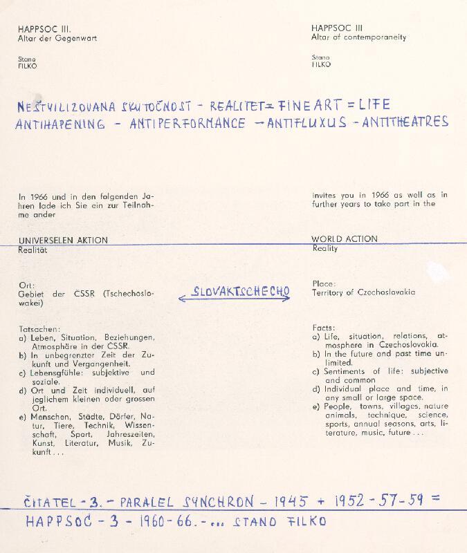Stanislav Filko - HAPPSOC – 3. – 1960-66 – ... STANO FILKO (časť názvu)