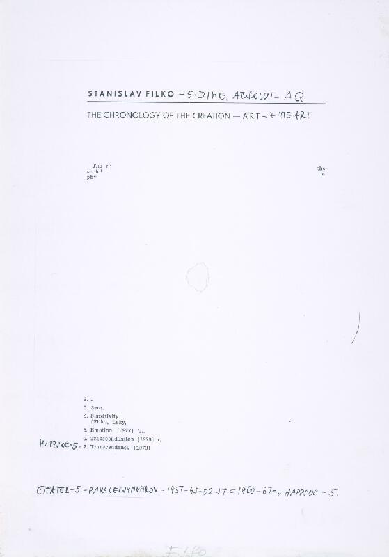 Stanislav Filko - ČITATEĽ – 5. PARALEL SYNCHRON – 1937-45-52-59 = 1960-67 – ,,, HAPPSOC – 5. (časť názvu