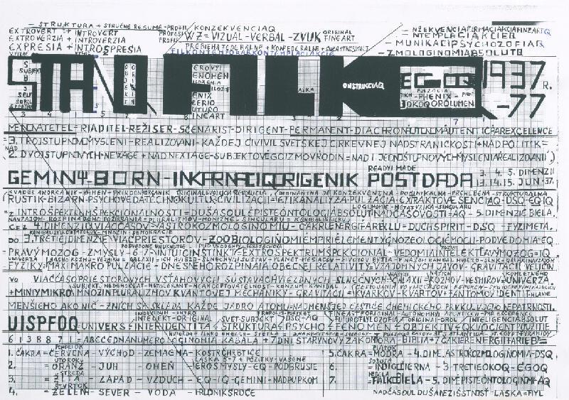 Stanislav Filko - STANQ FILKQ 1937-77 – FYLKQ 1978-87 –PHYLKQ 1988-97 –PHYS 1998-2037