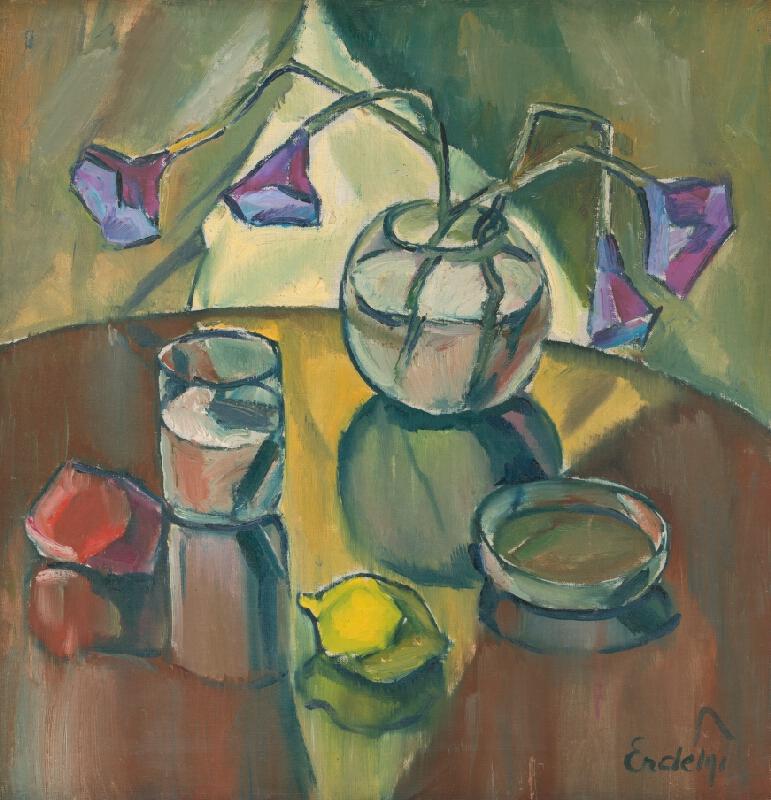 Vojtech Erdélyi – Zátišie s fialovým kvetom, 1920–1925m Šarišská galéria