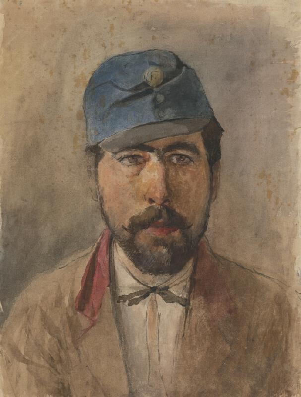 Ladislav Mednyánszky - Podobizeň vojaka v modrej čiapke
