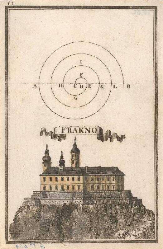 Gabriel Bodenehr st., Justus van den Nypoort - Geometrická figúra a pohľad na hrad Fraknó (Forchtenau)