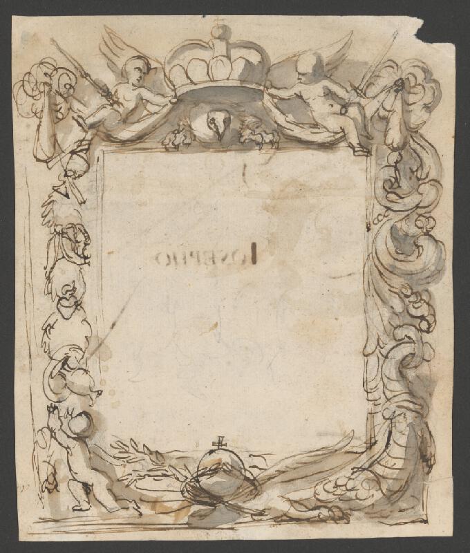 Rakúsky maliar z 2. polovice 18. storočia – Ornamentálny rám s cisárskymi insigniami
