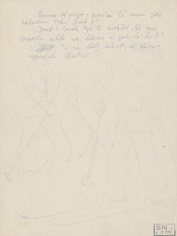 Štefan Bednár - Dvaja lyžiari - 1931