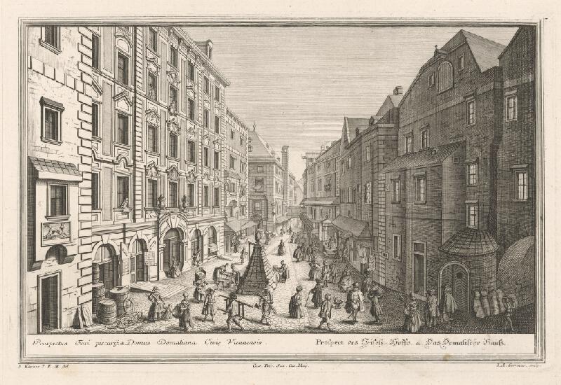 Salomon Kleiner, Johann August Corvinus - Pohľad na rybársky dvor vo Viedni
