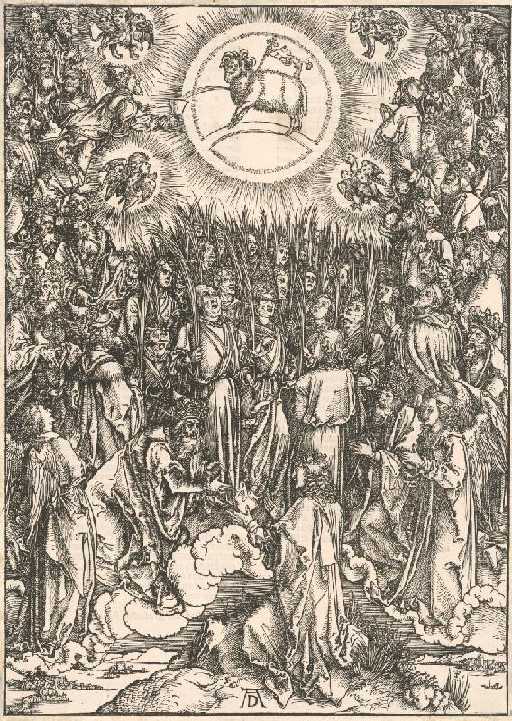 Albrecht Dürer - Chválospev vyvolených na nebesiach