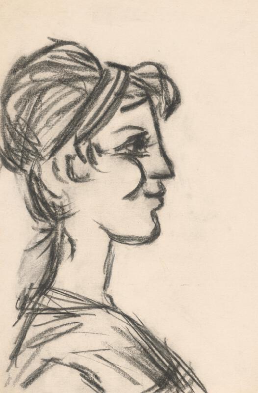 Peter Matejka - Hlava ženy z profilu s drdolom
