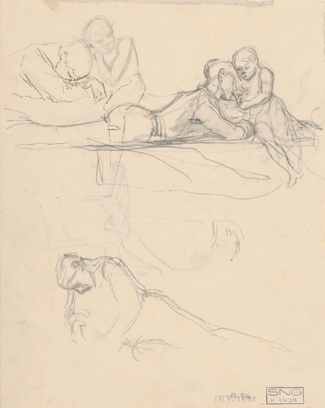 Ladislav Mednyánszky - Tri štúdie sediacej postavy