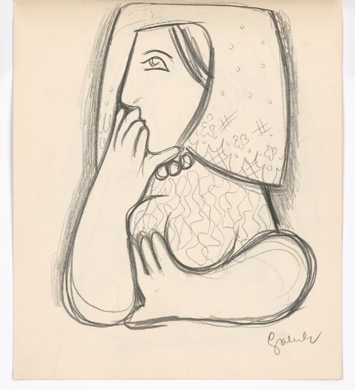 Mikuláš Galanda - Žena v kvetovanej šatke s podopretou bradou