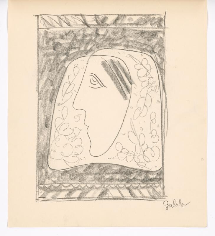Mikuláš Galanda - Hlava ženy v kvetovanej šatke