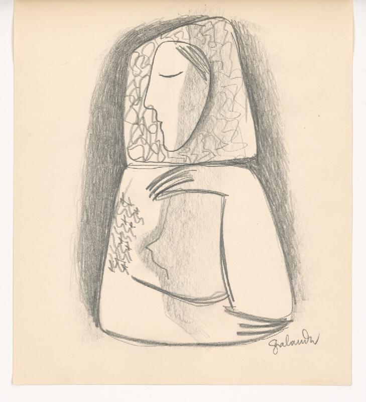 Mikuláš Galanda - Dedinčanka s podopretou hlavou