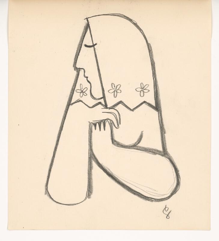 Mikuláš Galanda - Žena v kvetovanej šatke s podopierajúcimi sa rukami